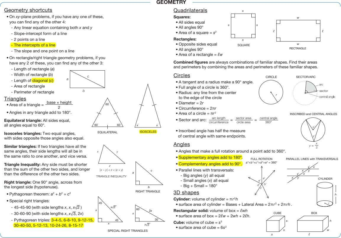 GEOMETRY Geometry shortcuts Quadrilaterals s • On xy-plane problems, if you have any one of