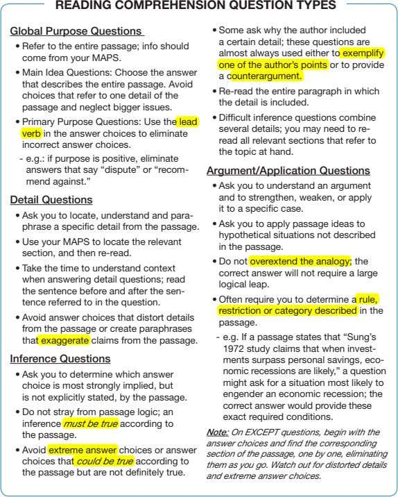 READING COMPREHENSION QUESTION TYPES Global Purpose Questions • Some ask why the author included a