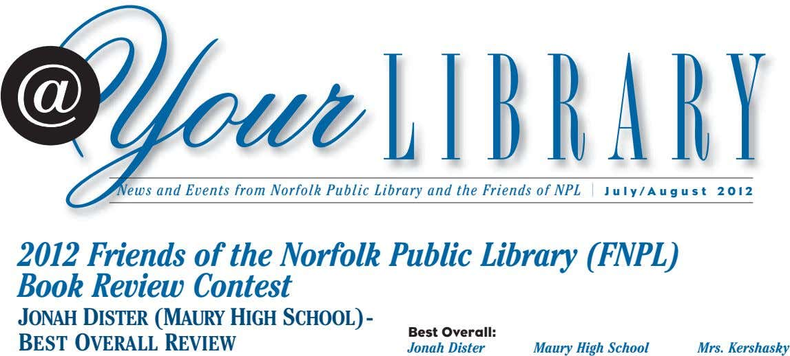 Your LIBRARY News and Events from Norfolk Public Library and the Friends of NPL I July/August