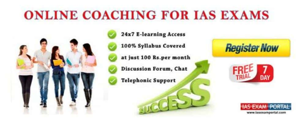 Online Coaching for IAS PRE GS 2015 What candidate will get: 1. All the relevant