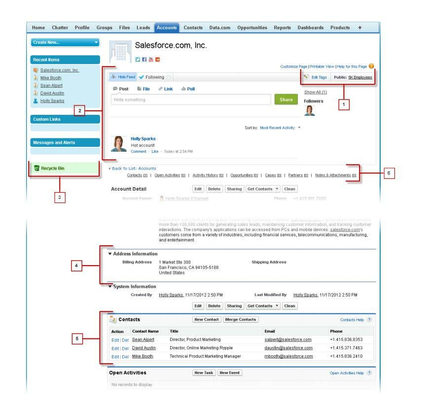 Learn Salesforce Basics Getting Around in Salesforce SEE ALSO: Tags Overview Understanding the Salesforce Sidebar