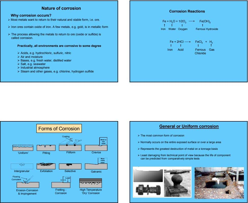Nature of corrosion Corrosion Reactions Why corrosion occurs? Most metals want to return to their