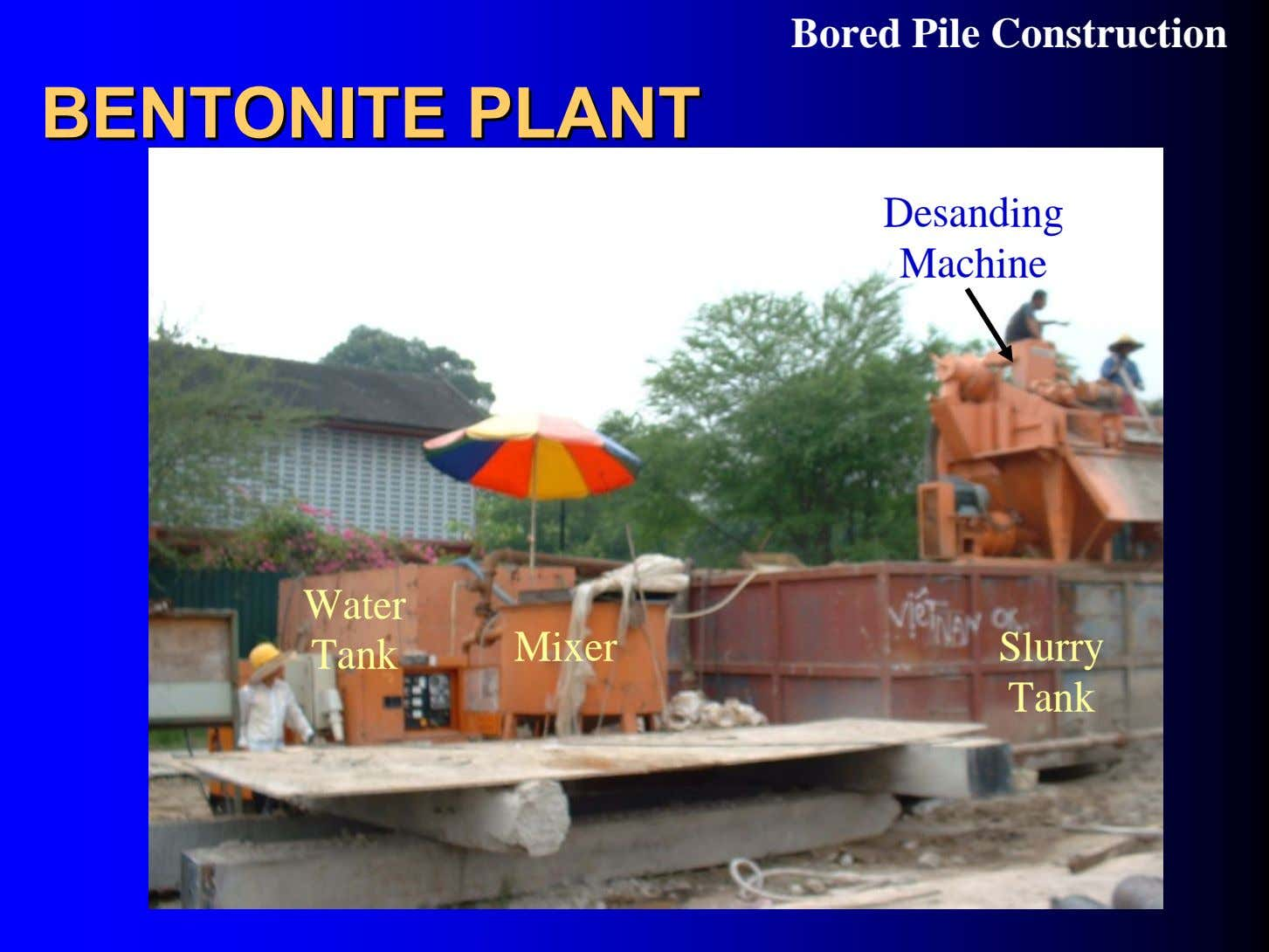 Bored Pile Construction BENTONITEBENTONITE PLANTPLANT Desanding Machine Water Tank Mixer Slurry Tank