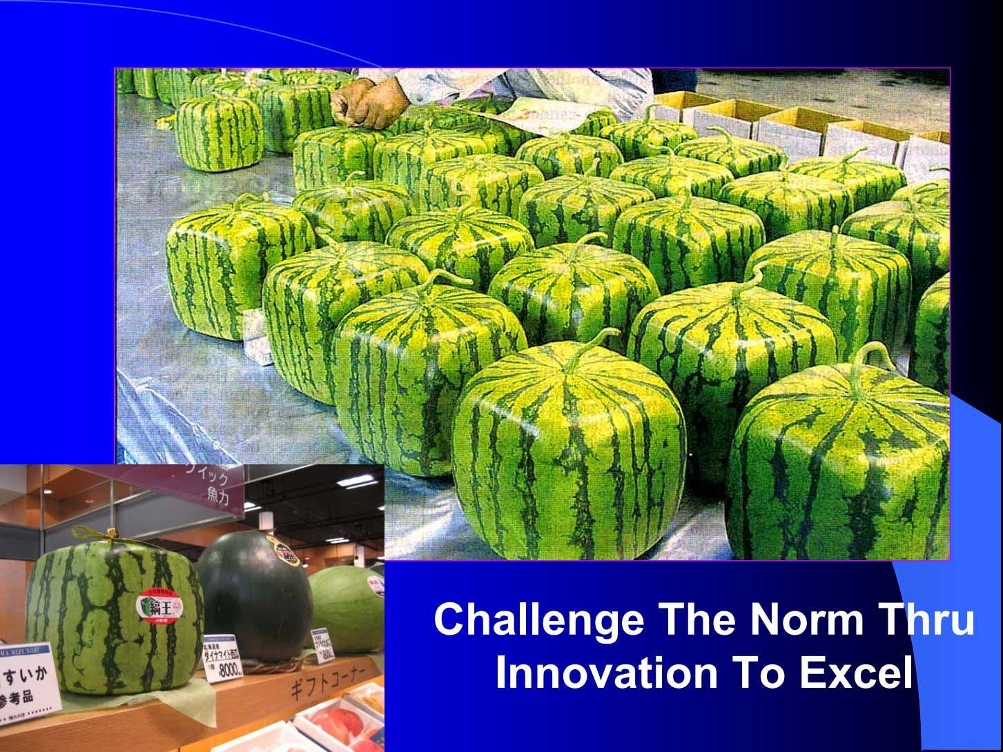 Challenge The Norm Thru Innovation To Excel