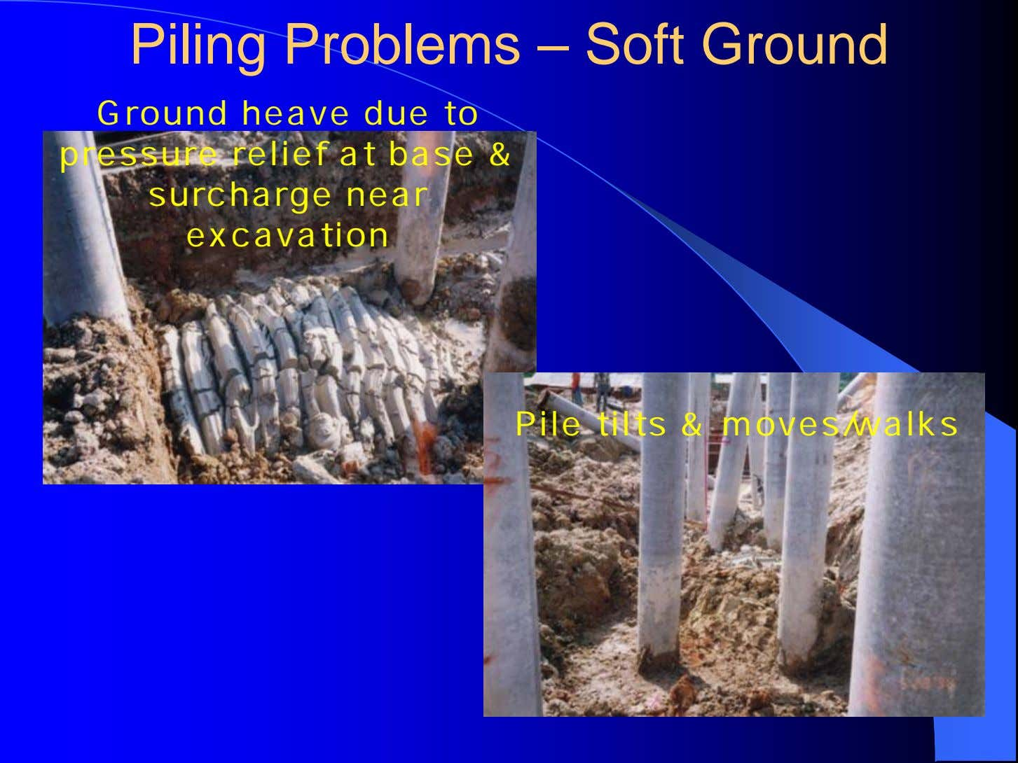 Piling Problems – Soft Ground Ground heave due to pressure relief at base & surcharge