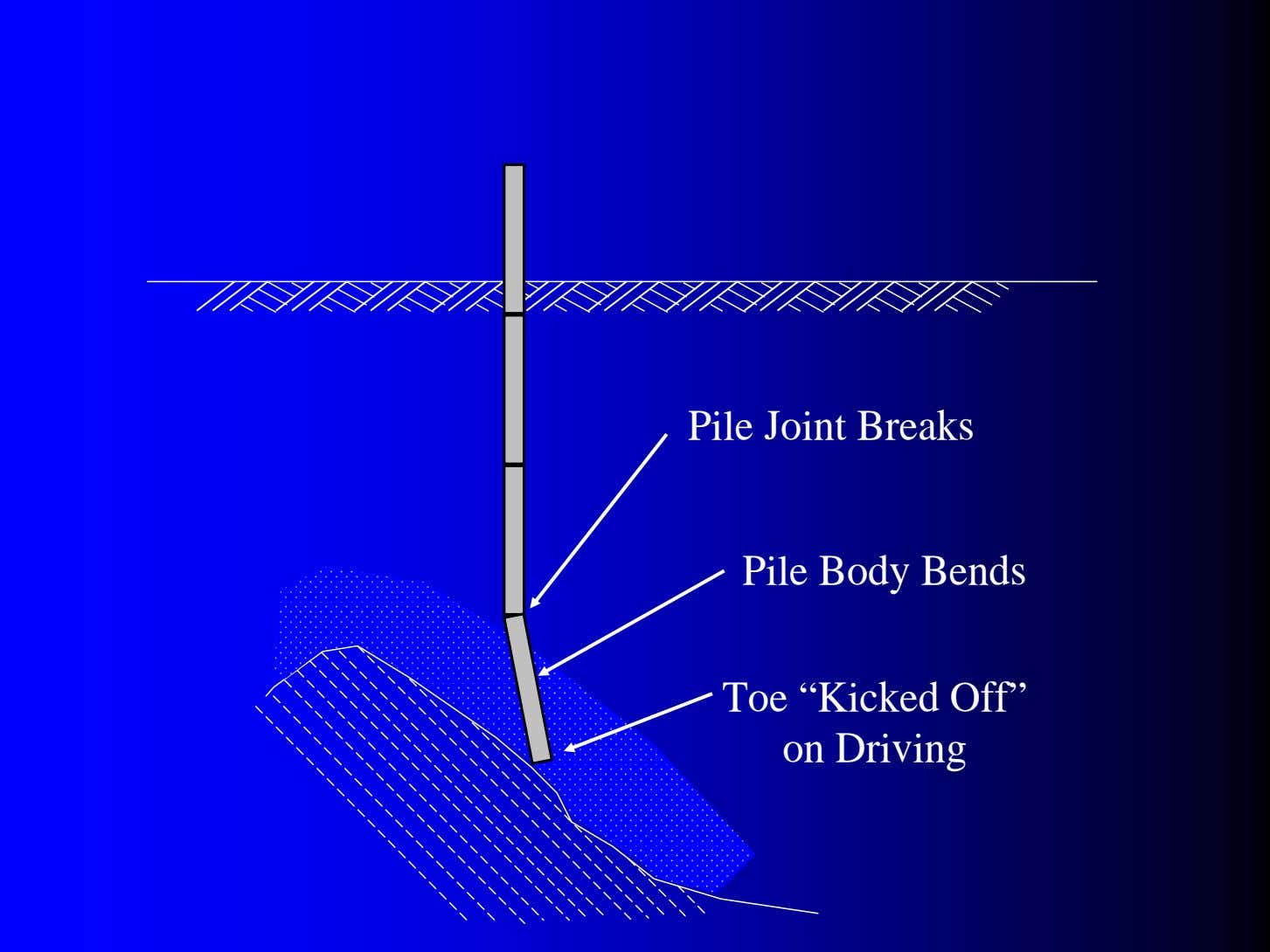 "Pile Joint Breaks Pile Body Bends Toe ""Kicked Off"" on Driving"