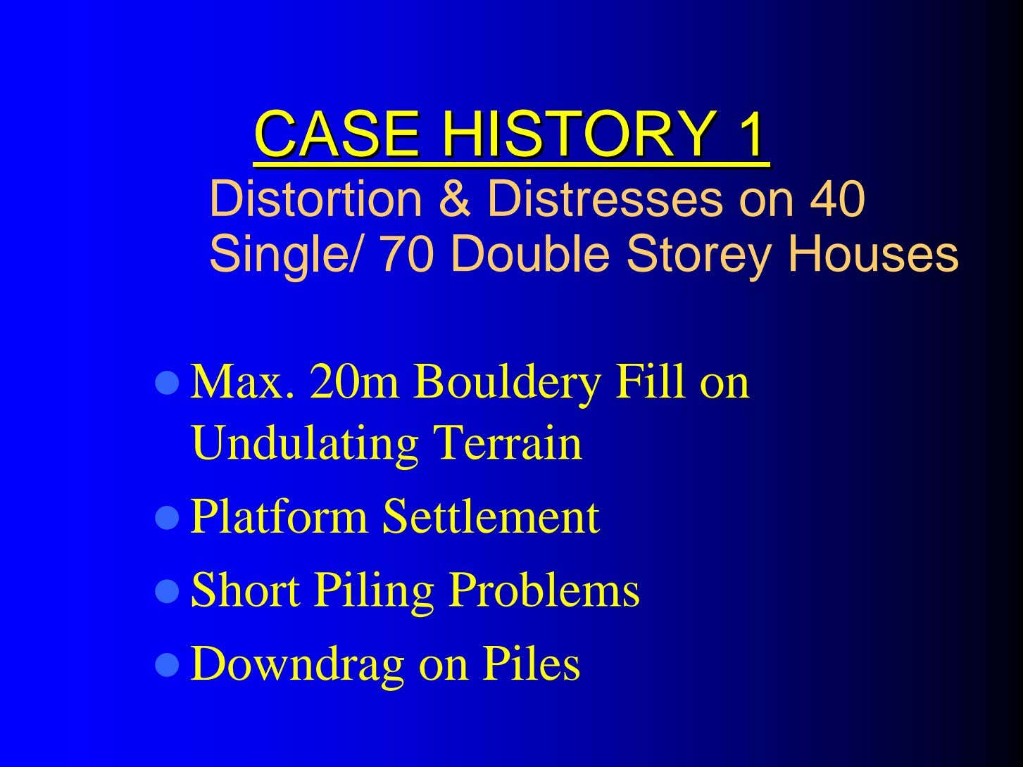 CASECASE HISTORYHISTORY 11 Distortion & Distresses on 40 Single/ 70 Double Storey Houses Max. 20m