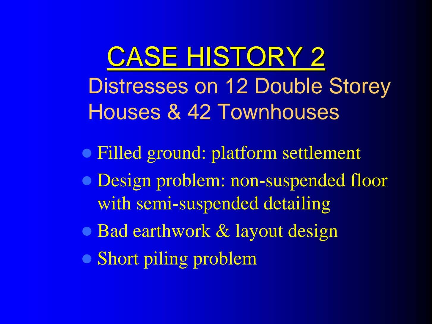 CASECASE HISTORYHISTORY 22 Distresses on 12 Double Storey Houses & 42 Townhouses Filled ground: platform