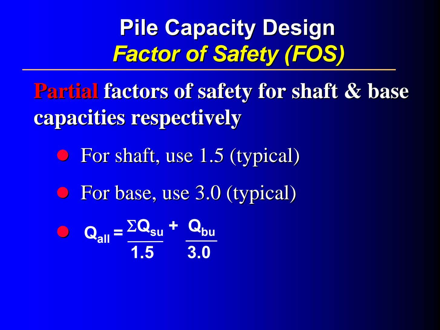PilePile CapacityCapacity DesignDesign FactorFactor ofof SafetySafety (FOS)(FOS) PartialPartial factorsfactors ofof