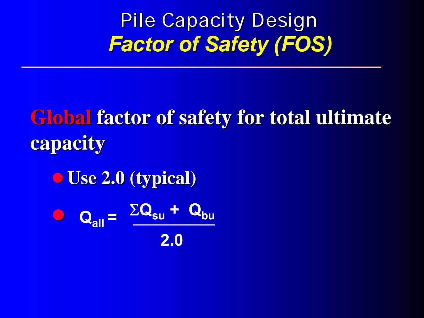 PilePile CapacityCapacity DesignDesign FactorFactor ofof SafetySafety (FOS)(FOS) GlobalGlobal factorfactor ofof