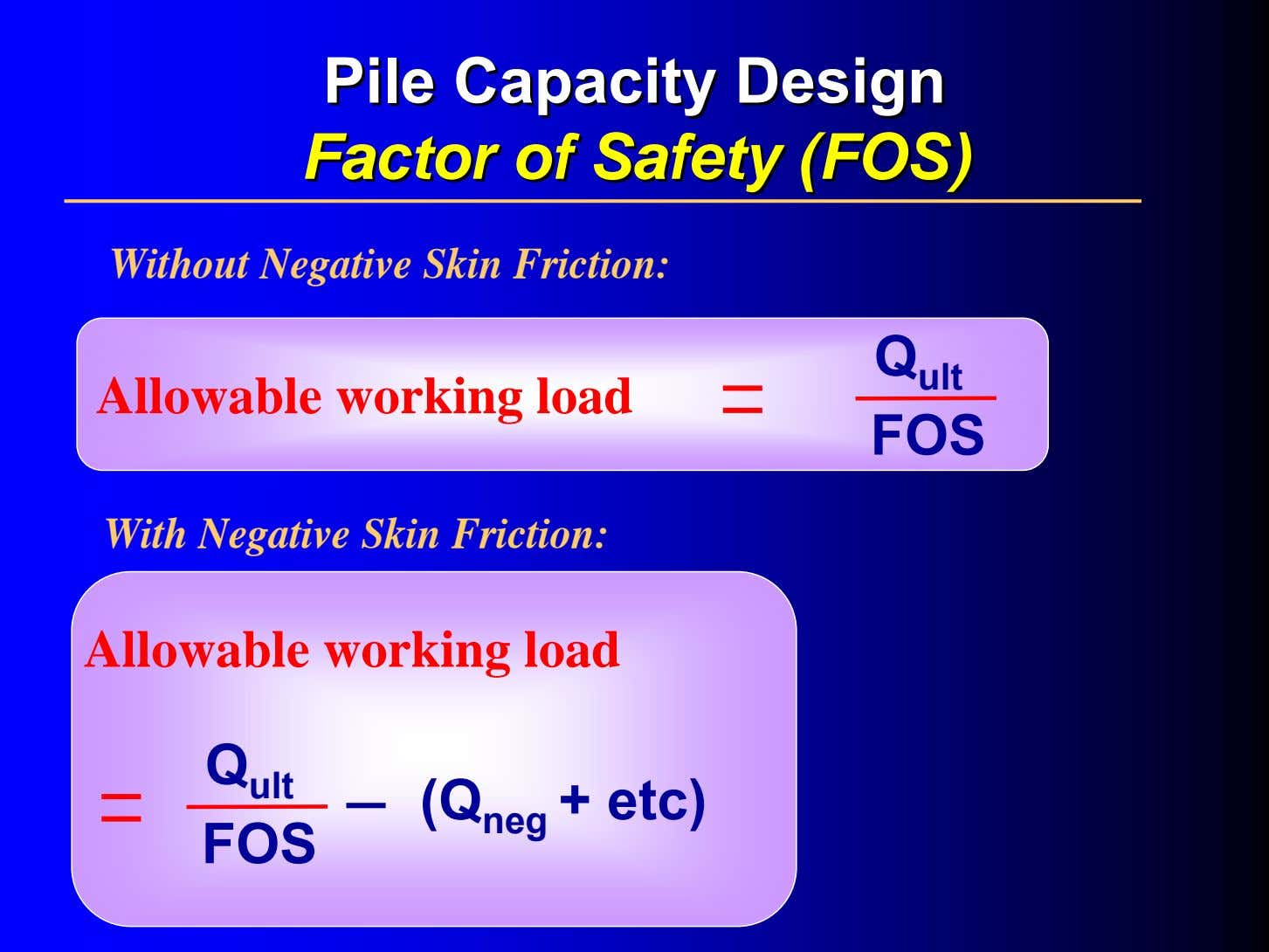 PilePile CapacityCapacity DesignDesign FactorFactor ofof SafetySafety (FOS)(FOS) Without Negative Skin Friction: Q ult