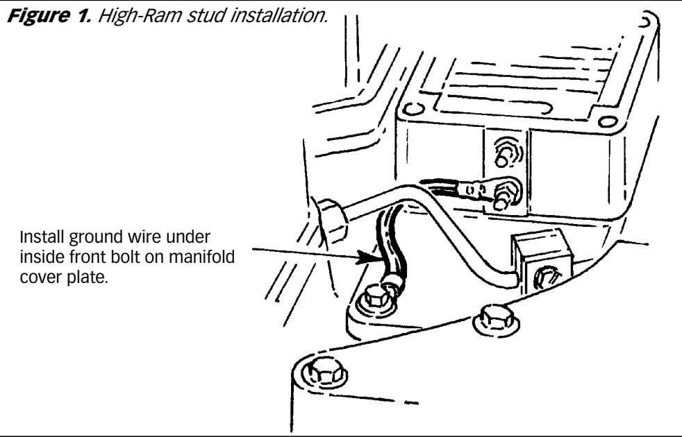 Figure 1. High-Ram stud installation. Install ground wire under inside front bolt on manifold cover