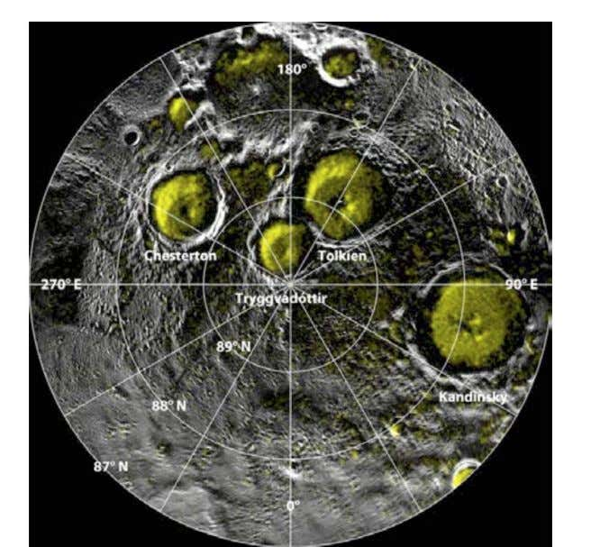 Figure 1. P ermanently shadowed craters in M ercury's north polar region (Ref. 12). Figure