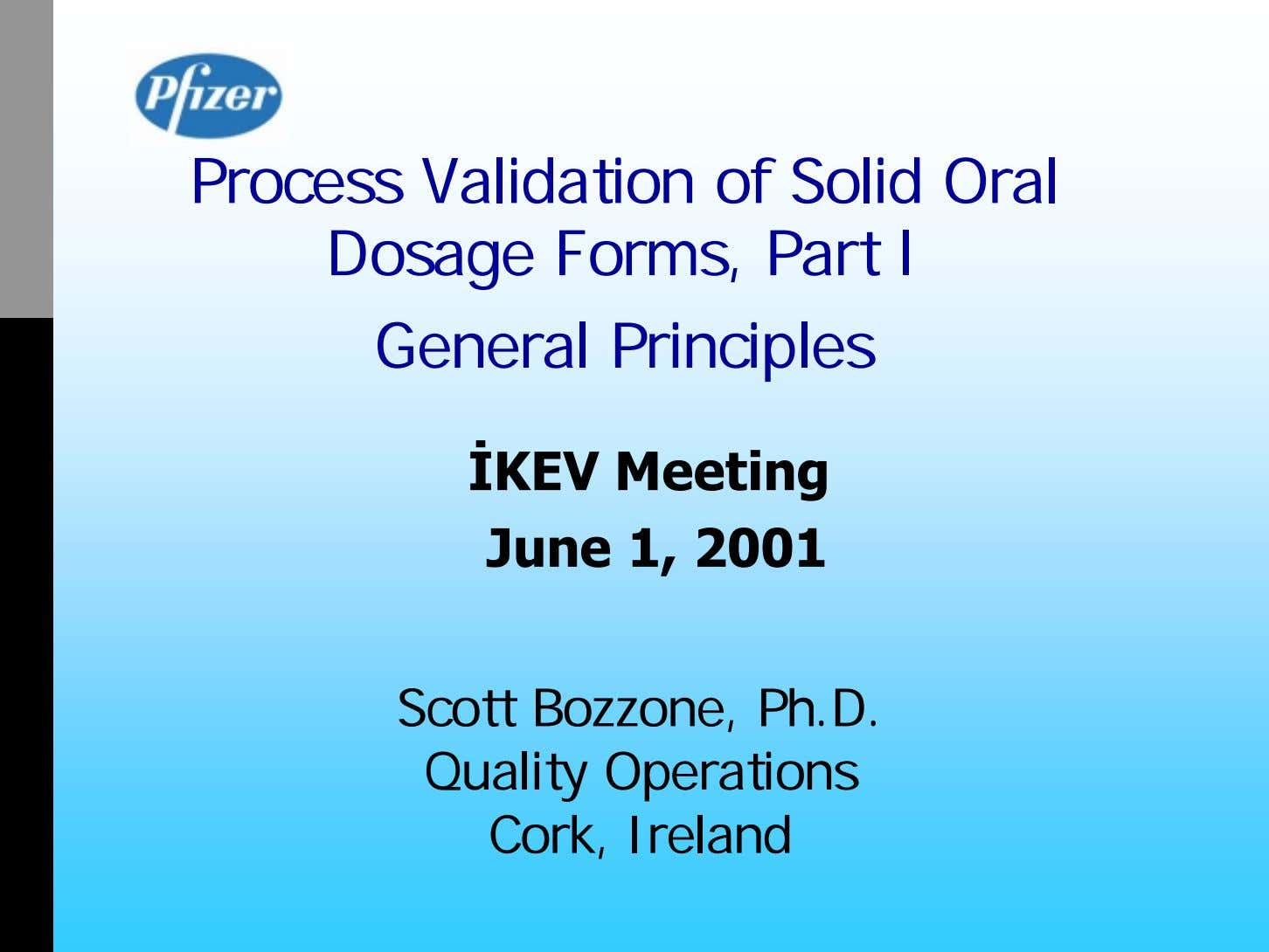 Process Validation of Solid Oral Dosage Forms, Part I General Principles İ KEV Meeting June