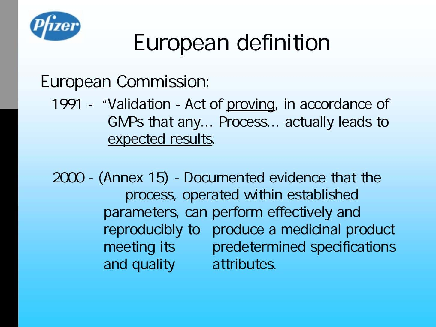 "European definition European Commission: 1991 - ""Validation - Act of proving, in accordance of GMPs"