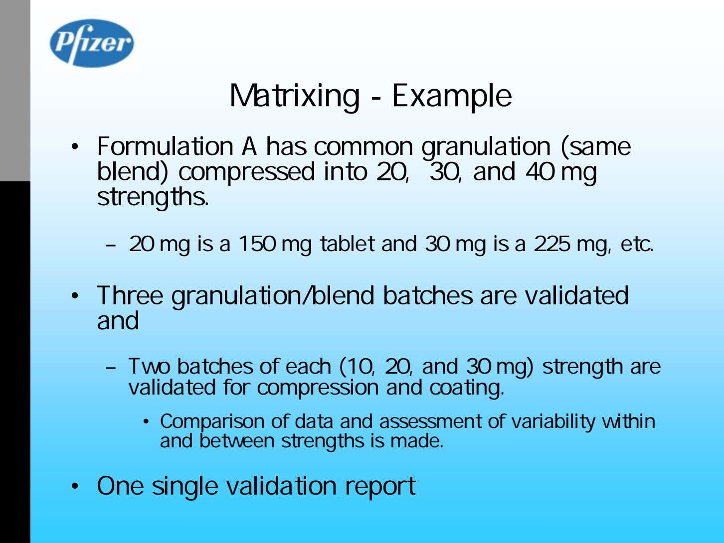 Matrixing - Example • Formulation A has common granulation (same blend) compressed into 20, 30,