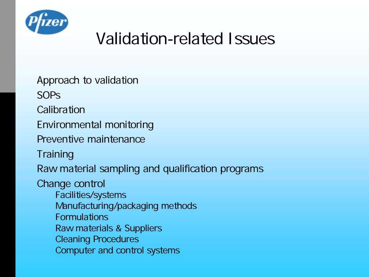 Validation-related Issues Approach to validation SOPs Calibration Environmental monitoring Preventive maintenance