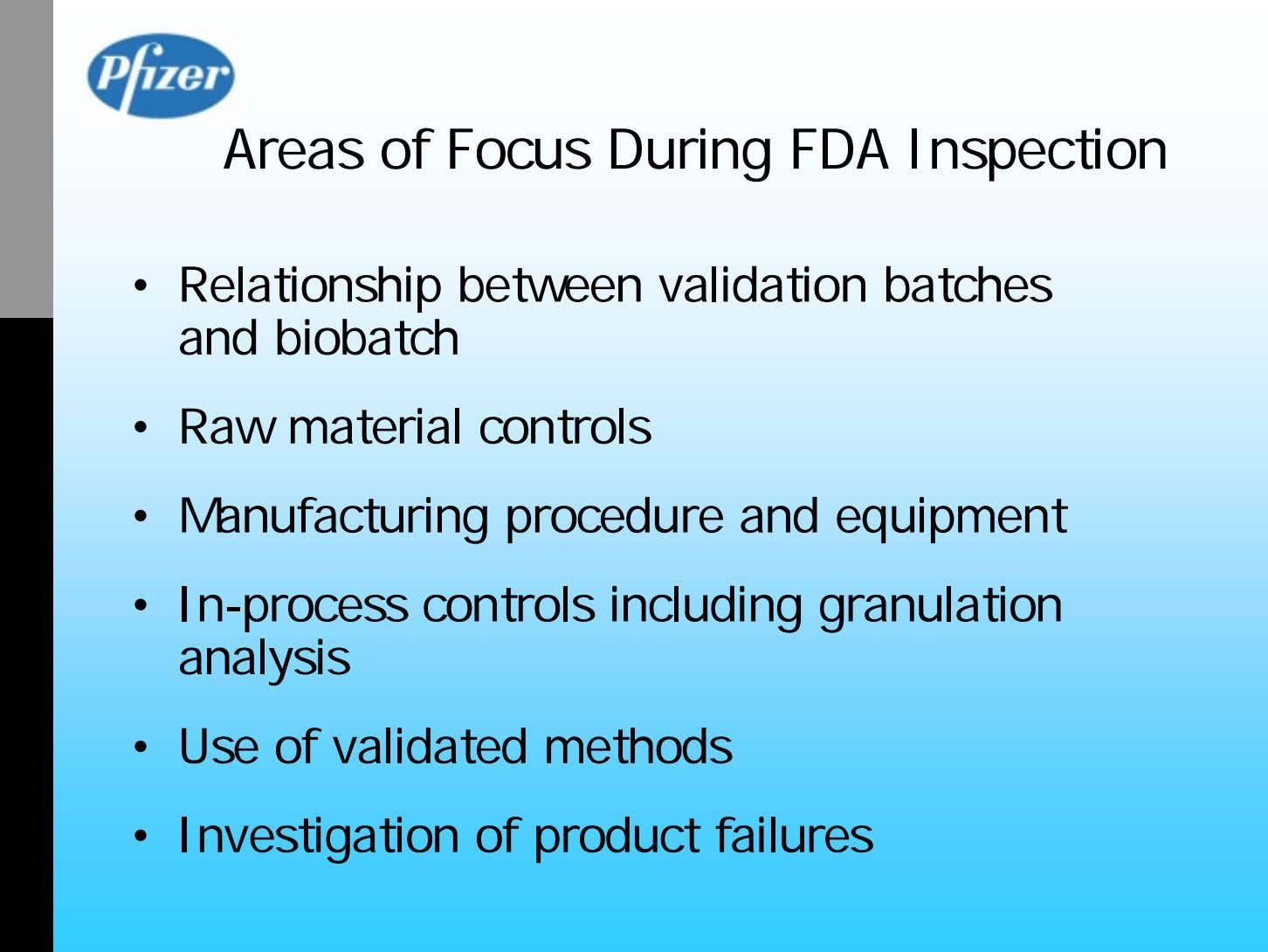 Areas of Focus During FDA Inspection • Relationship between validation batches and biobatch • Raw