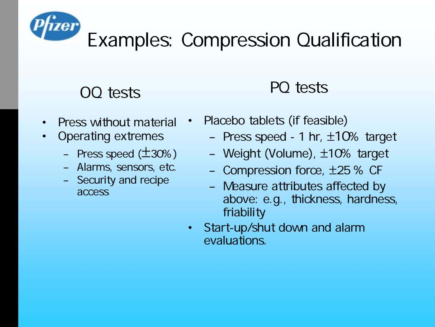 Examples: Compression Qualification PQ tests OQ tests • Press without material • Placebo tablets (if