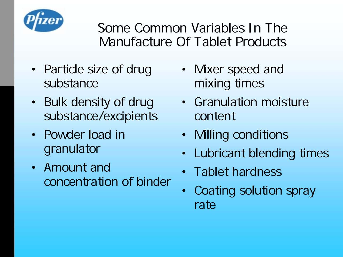 Some Common Variables In The Manufacture Of Tablet Products • Particle size of drug substance