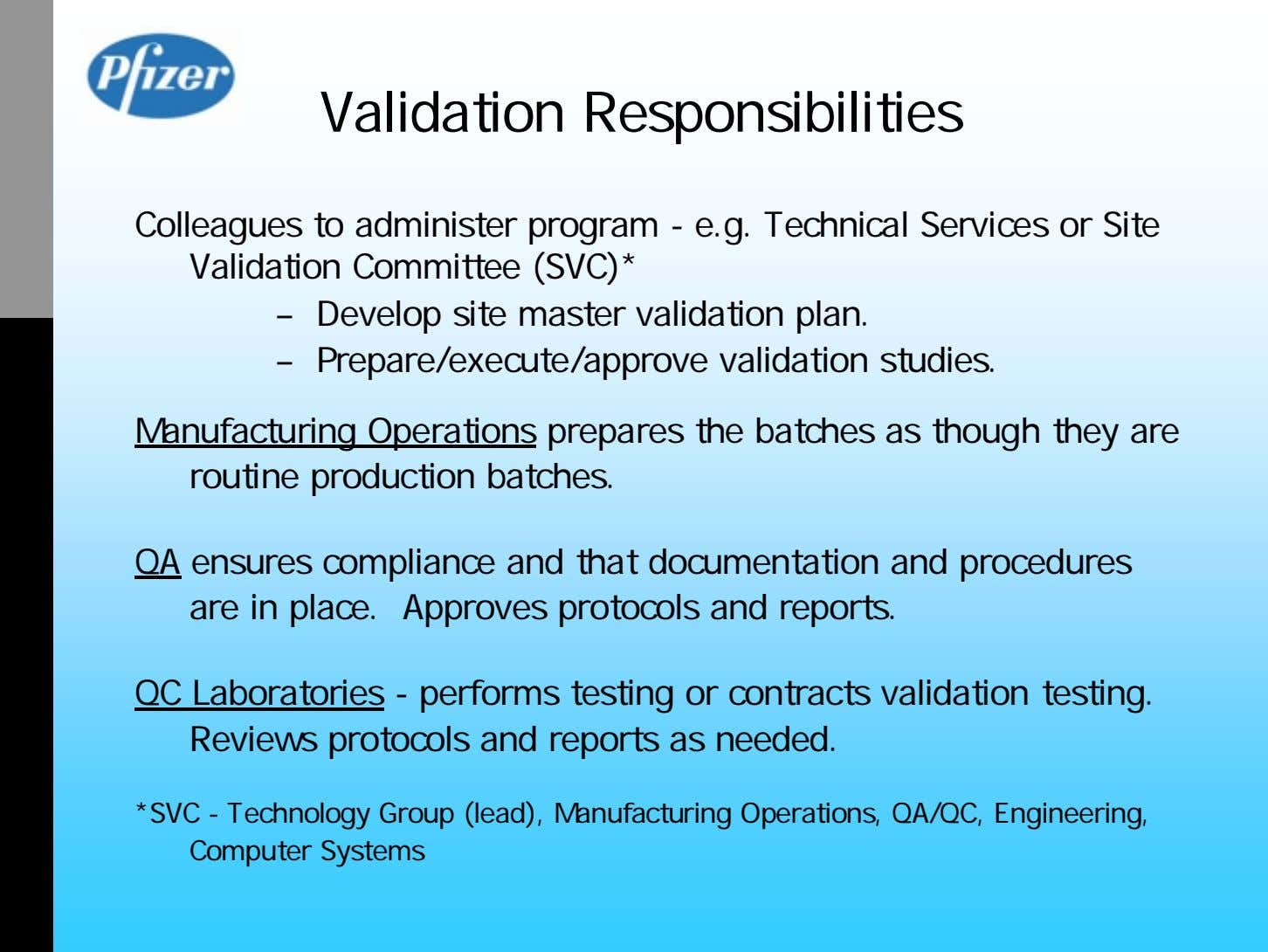 Validation Responsibilities Colleagues to administer program - e.g. Technical Services or Site Validation Committee