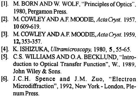"[I]. M.BORNANDW. WOLF, ""Principles of Optics"", 1980,PergamonPress. [2]. M.COWLEY"