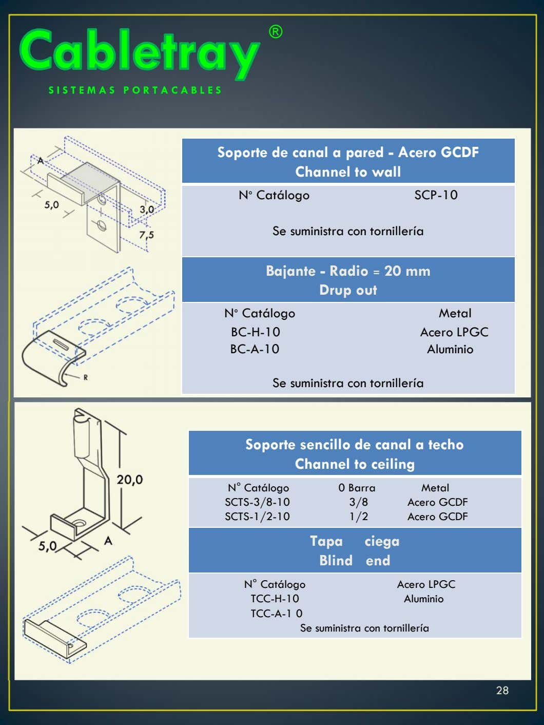 ® Soporte de canal a pared - Acero GCDF Channel to wall N° Catálogo SCP-10