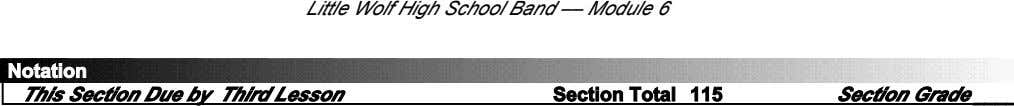 Little Wolf High School Band –– Module 6 Notation This Section Due by Third Lesson