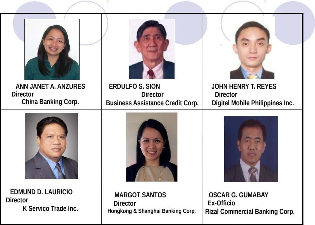 ANN JANET A. ANZURES Director China Banking Corp. ERDULFO S. SION Director Business Assistance Credit Corp.