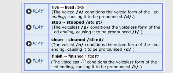 : /d/ (the voiceless form) or voiced form). For example: STOP TO READ As you studied