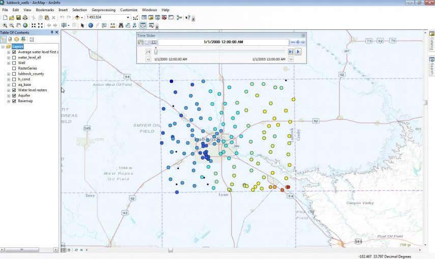 Use File/Save As … to save your ArcGIS Map file, Lubbock_wells.mxd. state of your map display