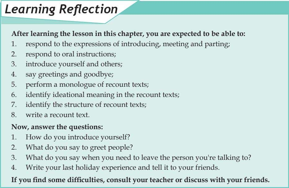 Learning Reflection After learning the lesson in this chapter, you are expected to be able