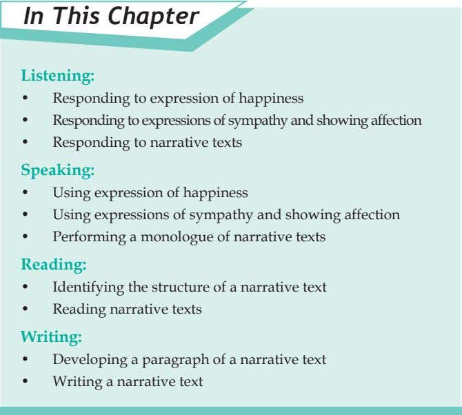 In This Chapter Listening: • Responding to expression of happiness • Responding to expressions of