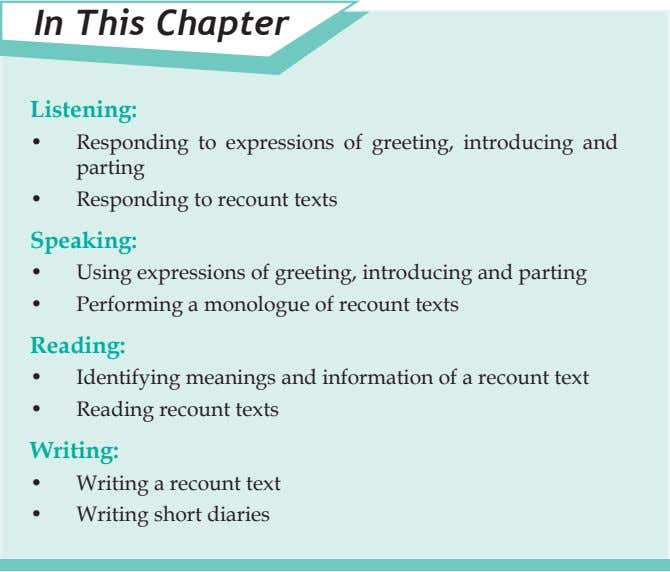 In This Chapter Listening: • Responding to expressions of greeting, introducing and parting • Responding