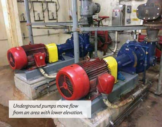 Underground pumps move flow from an area with lower elevation.
