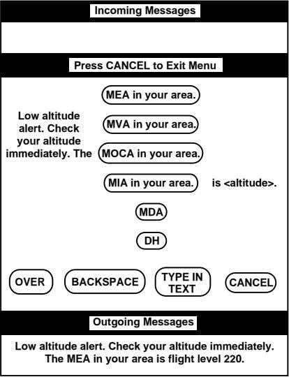 Incoming Messages Press CANCEL to Exit Menu MEA in your area. Low altitude MVA in