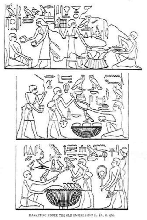 Barter and trading at a market in old kingdom ancient Egypt Trade was an integral part