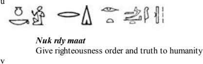 u Nuk rdy maat Give righteousness order and truth to humanity v