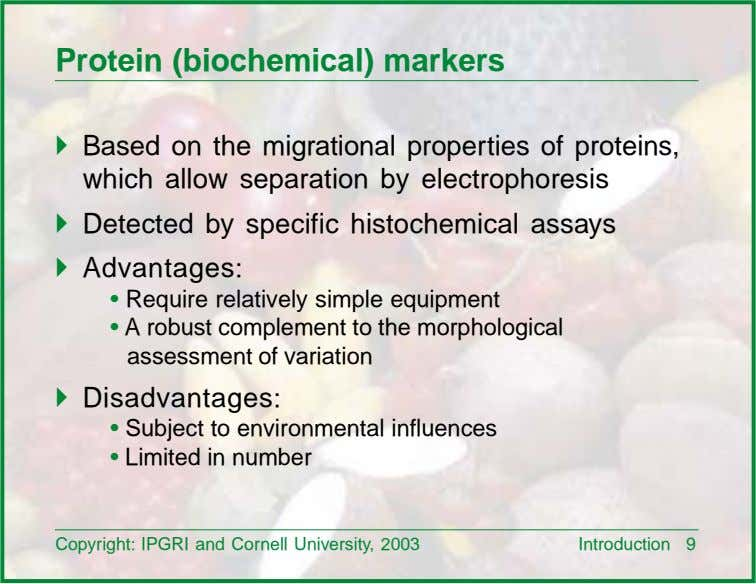Protein (biochemical) markers ! Based on the migrational properties of proteins, which allow separation by