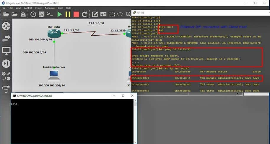 Try to ping the IP 33.33.33.1 from the command prompt. Now ping 12.1.1.2 which the