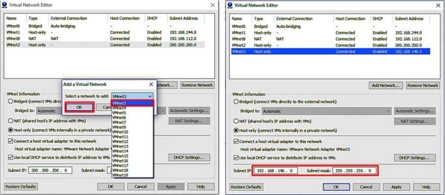 again and create the 2nd Virtual Network VMnet3 , assign the subnet 33.33.33.0/24 and also change