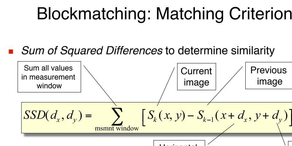 Blockmatching: Matching Criterion   Sum of Squared Differences to determine similarity Sum all values in