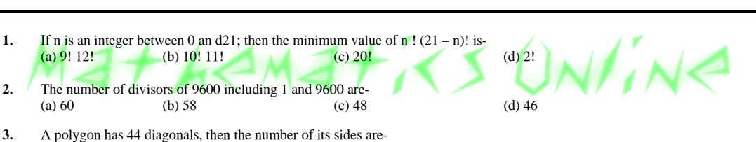 1. If n is an integer between 0 an d21; then the minimum value of