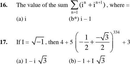 n + 1 16. The value of the sum ∑ (i n + i )