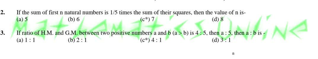 2. If the sum of first n natural numbers is 1/5 times the sum of
