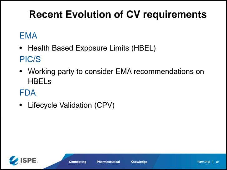 Recent Evolution of CV requirements EMA • Health Based Exposure Limits (HBEL) PIC/S • Working