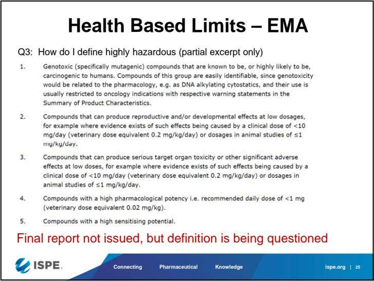Health Based Limits – EMA Q3: How do I define highly hazardous (partial excerpt only)