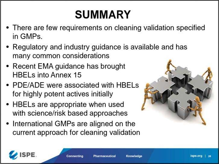 SUMMARY • There are few requirements on cleaning validation specified in GMPs. • Regulatory and