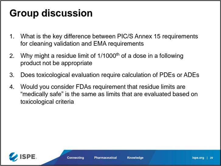 Group discussion 1. What is the key difference between PIC/S Annex 15 requirements for cleaning