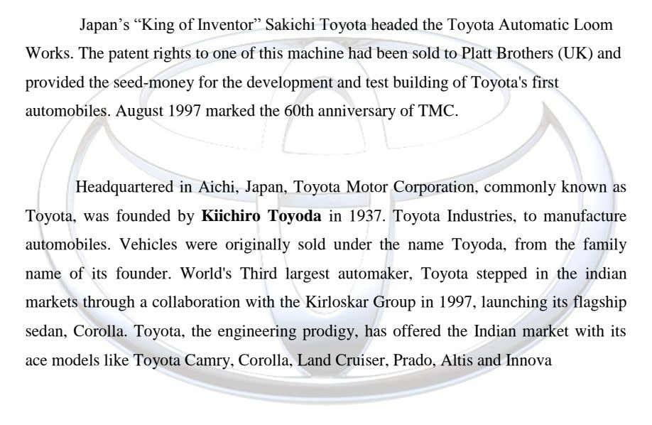 "Japan""s ""King of Inventor"" Sakichi Toyota headed the Toyota Automatic Loom Works. The patent rights to"